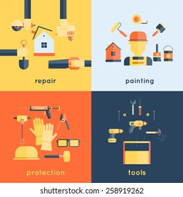 Home repair painting brush construction tools measuring tape flat icons composition design vector illustration