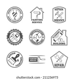 Home repair panting service quality building installation design labels set with black tools icons isolated  vector illustration