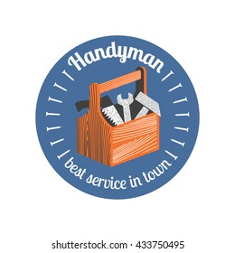 Home repair and remodel vector logo, icon, badge. Template design element for business related to home and house rebuilding, construction, repair. Handyman sign