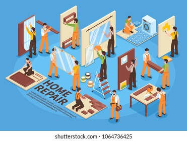 Home repair renovation interior remodeling isometric elements collection with wallpaper and shelves hanging tiles laying vector illustration