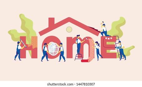 Home Repair Service. Group of Construction Engineers with Building Equipment Tools Work at House Repairing. Carpenter Repairman, Builder, Master Renovation Apartment. Cartoon Flat Vector Illustration
