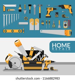 home repair service template with set of DIY home repair working tools. home repair service consulting, renovation & construction company on white background for marketing concept. vector flat design