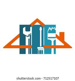 Home repair symbol, tool under the roof silhouette