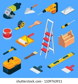 Home repair tool kit. Vector flat isometric repair construction work tool and equipment icon set. Toolbox, hand drill, hammer, screwdriver, measuring tape, knife, paint roller, paintbrush, ladder etc.