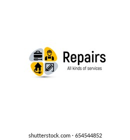 Home repair tools vector logo. House renovation service icon. Building professional support and improvement abstract 2d illustration.