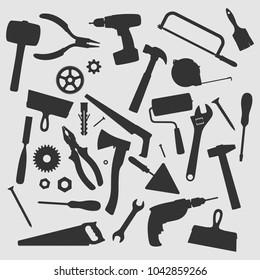 Home Repair Tools Vector Silhouette
