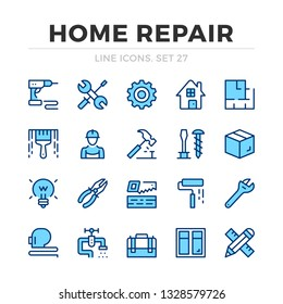 Home repair vector line icons set. Thin line design. Outline graphic elements, simple stroke symbols. Home repair icons
