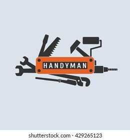 Home repair vector logo, icon, emblem, sign. Handyman, repairman nonstandard sign. Template design element for home remodeling service
