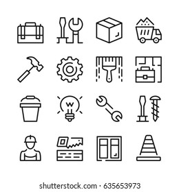 Home repair, work tools line icons set. Modern graphic design concepts, simple outline elements collection. Vector line icons