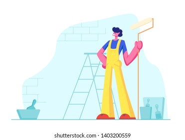 Home Repair Worker with Roller for Wall Painting. Professional Construction Master in Uniform Overalls Stand on Background with Ladder, Paint Buckets and Equipment. Cartoon Flat Vector Illustration