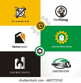 Home repairs and apartment services logo designs set. Plumbing, fixing, maintenance symbols, icons and design elements. Construction logo.