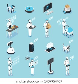 Home robot isometric icons collection with service care animal household digital touch screen controlled assistants vector illustration