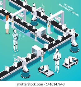 Home robots automated manufacturing line with woman and humanoid operators controlling process isometric composition vector illustration