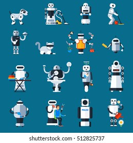 Home robots collection helping and replacing people in different activities in flat style isolated vector illustration