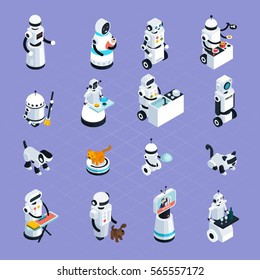 Home robots collection helping and replacing people in different activities in isometric style isolated vector illustration