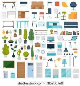 Home room and office interior constructor with cartoon plants, office furniture, laptops, decorations and other elements. Business workplace creator set in flat design.