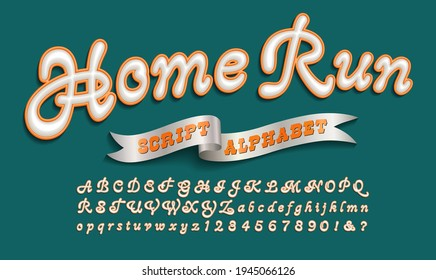 Home Run is a sports or collegiate style script font. This lettering style is suited to sports team logos, sportswear, hoodies, etc.