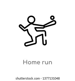 home run vector line icon. Simple element illustration. home run outline icon from sports concept. Can be used for web and mobile