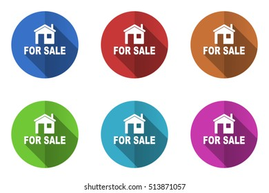 Home for sale flat design vector icons