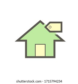 Home for sale and investment vector icon design on white.