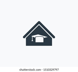 Home schooling icon isolated on clean background. Home schooling icon concept drawing icon in modern style. Vector illustration for your web mobile logo app UI design.
