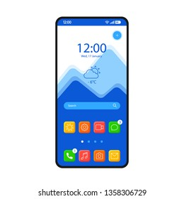 Home screen smartphone interface vector template. Mobile operating system page blue design layout. Search bar, forecast. Start screen with app icons, shortcuts. Flat UI for application. Phone display
