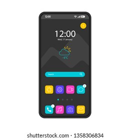 Home screen smartphone interface vector template. Mobile operating system page black design layout. Search bar, forecast. Start screen with app icons, shotcuts. Flat UI for application. Phone display