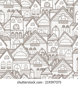 Home seamless background with house and hearts. Vector illustration.