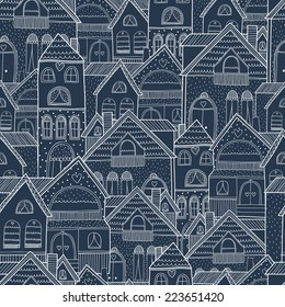Home seamless background with house and hearts. Vector illustration, night street