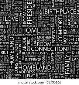 HOME. Seamless vector background. Illustration with different association terms.