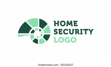 Home security logo with the fossil icon and logo text. Modern flat design.