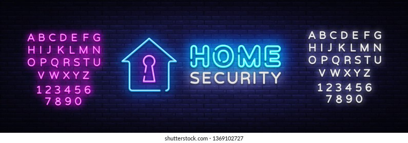 Home Security neon sign vector design template. Smart Home Security neon logo, light banner design element colorful modern design trend, night bright advertising. Vector. Editing text neon sign