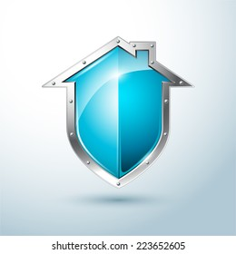 Home security silver and blue shield vector illustration