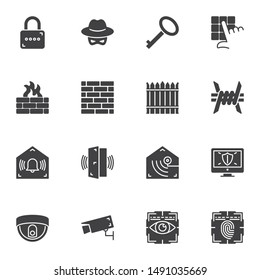 Home security system vector icons set, modern solid symbol collection, filled style pictogram pack. Signs, logo illustration. Set includes icons as barbed wire, fence, brick wall, surveillance camera