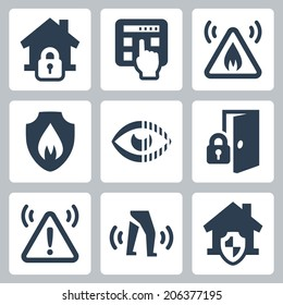 Home security vector icons set