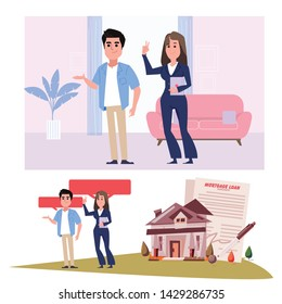 Home seller with clients - vector illustration