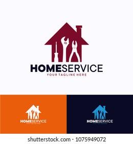 Home Service Logo Template Design. Creative Vector Emblem, for Icon or Design Concept.