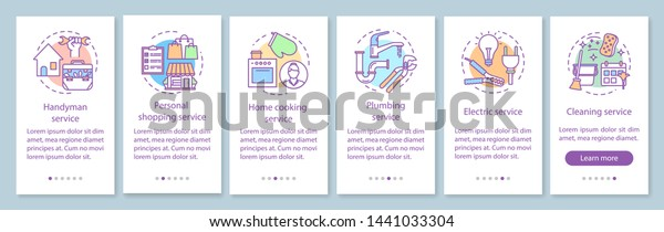 Home Services Onboarding Mobile App Page Stock Image