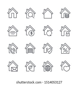 Home set icon template color editable. Home pack symbol vector sign isolated on white background illustration for graphic and web design.