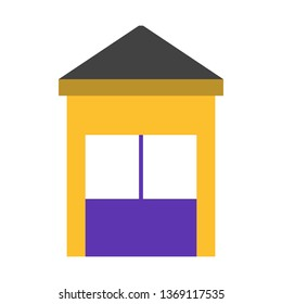 Home, Shop, Business Flat Style Icon Vector - Vector