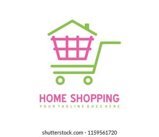 Home shopping logo template vector