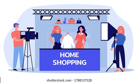 Home shopping shooting. Actress with clothes, camera crew, studio flat vector illustration. Advertising, consumerism, TV show concept for banner, website design or landing web page