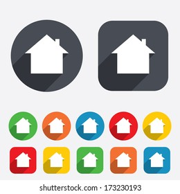 Home sign icon. Main page button. Navigation symbol. Circles and rounded squares 12 buttons. Vector