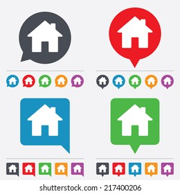 Home sign icon. Main page button. Navigation symbol. Speech bubbles information icons. 24 colored buttons. Vector
