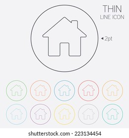 Home sign icon. Main page button. Navigation symbol. Thin line circle web icons with outline. Vector