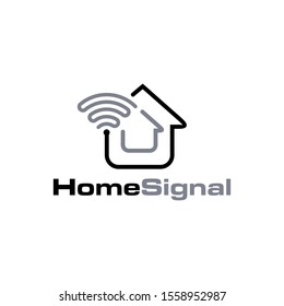 Home and Signal with Line Style Logo/Icon Design Template