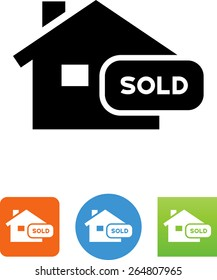 Home with sold sign icon