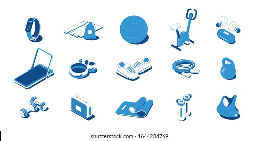 Home sport workout equipment sportswear gadgets blue isometric icons set with barbells sneakers exercise bike vector illustration