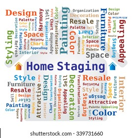 Home Staging Word Cloud with House Icon in the Background