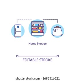 Home storage concept icon. House pantry. Household domestic cupboard. Larder, storeroom. Quarantine food stock idea thin line illustration. Vector isolated outline RGB color drawing. Editable stroke